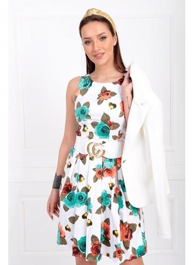 Sense Havuz Yaka Eteği Pileli Elbise Elb32181 Yeşil